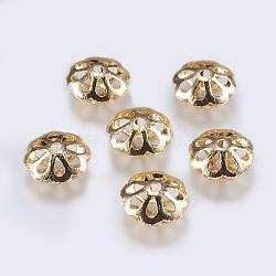 Perles en laiton, fleur, creux, véritable 18k plaqué or, 18x8.5mm, Trou: 2.5mm(KK-F740-09G)