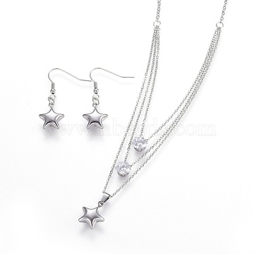 Clear Stainless Steel Earrings & Necklaces