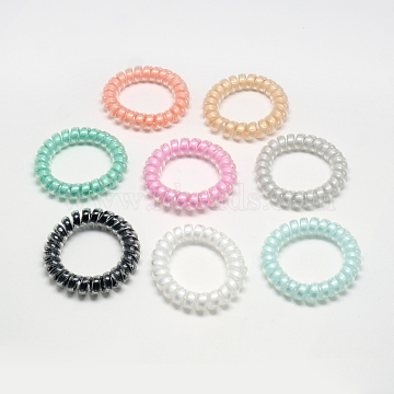 Plastic Telephone Cord Elastic Hair Ties, Ponytail Holder, with Ribbon, Mixed Color, 32~37mm(OHAR-Q044-24)