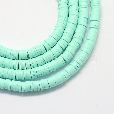 6mm Aquamarine Flat Round Polymer Clay Beads