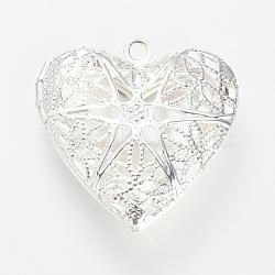 Pendentifs médaillon de diffuseur en laiton, pendentifs cage, cœur, argenterie, 26x25.5x6.5mm, Trou: 2mm(X-KK-R037-175S)