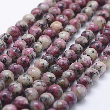 Nature Labradorite Beads Strands, Dyed, Round, OldRose, 8~8.5mm, Hole: 1mm; about 47~49pcs/strand, 14.5inches~14.9inches(37~38cm)(X-G-E443-A25)