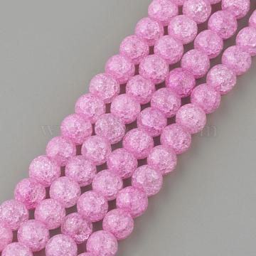 Synthetic Crackle Quartz Beads Strands, Round, Dyed, Violet, 12mm, Hole: 1mm; about 32pcs/strand, 15.7''(GLAA-S134-12mm-03)
