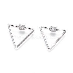 laiton micro pavé zircone cubique vis verrouillage mousqueton porte-clés, charm mousqueton, pour la fabrication de colliers, triangle, platine, 24x26x2 mm(ZIRC-I031-18P)