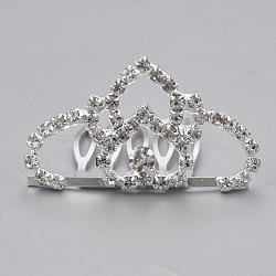 Peignes à cheveux strass mariage à la mode, diadèmes de mariée, avec une base en laiton, couronne, cristal, 26x46mm(OHAR-Q283-19)