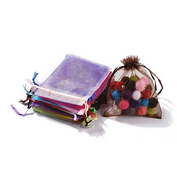 Organza Gift Bags, Plain Style, with Drawstring, Rectangle, Mixed Color, 12x9cm(X-OP-ZX001-9x12cm-M)
