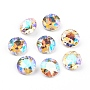 Pointed Back & Back Plated Glass Rhinestone Cabochons, Grade A, Faceted, Flat Round, Paradise Shine, 8x4.5mm