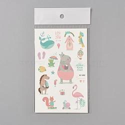 Faux tatouages temporaires amovibles, imperméable, autocollants papier de dessin animé, animaux, colorées, 120~121.5x75mm(AJEW-WH0061-B19)