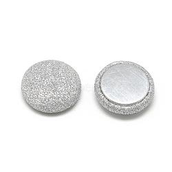 Cabochons recouverts de tissu de lustre nacré, avec fond en aluminium, demi-rond / dôme, argenterie, 15x5mm(X-WOVE-S084-07E)