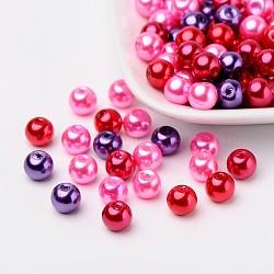 Ensembles de perles de verre de mélange de valentine, nacré, couleur mixte, 8mm, trou: 1 mm; environ 100 PCs / sachet (HY-X006-8mm-10)