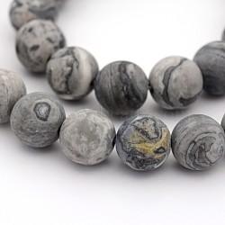"""Carte naturelle dépolie pierre / pierre picasso / picasso jasper brins de perles rondes, 6mm, trou: 1mm; environ 31 pcs/chapelet, 7.5""""(G-M272-08-6mm)"""