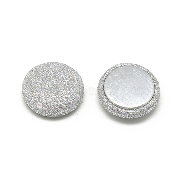 Pearly Lustre Cloth Fabric Covered Cabochons, with Aluminum Bottom, Half Round/Dome, Silver, 15x5mm(X-WOVE-S084-07E)
