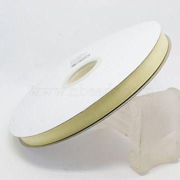 Polyester Organza Ribbon, Light Goldenrod Yellow, 3/8 inch(9mm); 200yards/roll(182.88m/roll)(ORIB-L001-03-815)