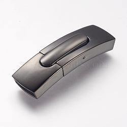 Fermoirs à baïonnette en 304 acier inoxydable, rectangle, gunmetal, 35.7x8.2x6mm, Trou: 6x4mm(STAS-P158-01C-B)
