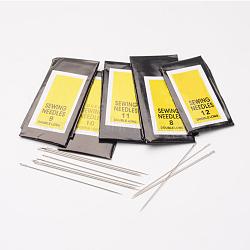 aiguilles à coudre en fer mélangé, Aiguilles, platine, 40~55x0.45~0.7 mm, trou: 0.3~0.5 mm; sur 25 pcs / sac; 10 sacs / set(E25-M)