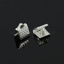 ruban de fer sertir extrémités, couleur argentée, taille: environ 6 mm de long, 8 mm de large, trou: 2 mm(X-E004Y-S)