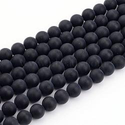 Натуральный черный агат нитей бисера, матовые, круглые, 6 мм, Отверстие : 1 мм; около 65 шт / нитка, 15.7
