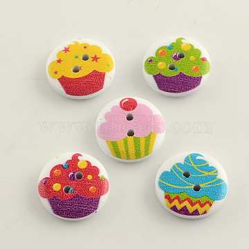 2-Hole Ice-Cream Pattern Printed Wooden Buttons, Flat Round, Mixed Color, 20x4~5mm, Hole: 2mm(X-BUTT-R031-026)
