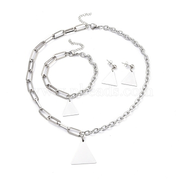 304 Stainless Steel Paperclip Chains & Cable Chain Jewelry Sets, Dangle Earrings & Pendant Necklaces & Charm Bracelets, Triangle, Stainless Steel Color, 18-3/4 inches(47.7cm); 8 inches(20.3cm); 29mm, Pin: 0.6mm(SJEW-K153-53P)
