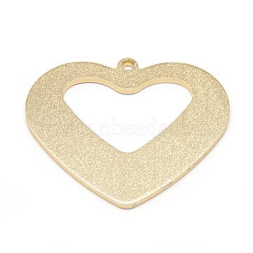 Aluminum Pendants, Heart, Golden, 47.5x55x2mm, Hole: 2.5mm(ALUM-S014-03G)