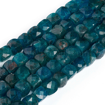 Natural Apatite Beads Strands, Faceted, Cube, 4~5x4~5x4~5mm, Hole: 0.7mm; about 72~76pcs/Strand, 15 inches(38cm)(G-E560-A07-4mm)