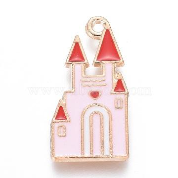 Alloy Pendants, with Enamel, Castle, Light Gold, Pearl Pink, 25x12.5x2mm, Hole: 1.4mm(X-PALLOY-I166-41KCG-A)
