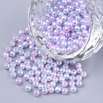 Rainbow ABS Plastic Imitation Pearl Beads, Gradient Mermaid Pearl Beads, Round, Pink, 11.5~12x11~11.5mm, Hole: 2mm(X-OACR-Q174-12mm-01)