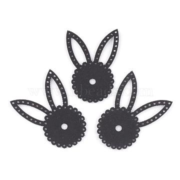 48mm Black Rabbit Imitation Leather Beads