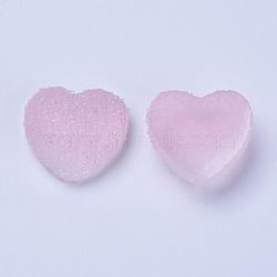 cabochons de résine, deux tons, cœur, pearlpink, 15~15.5x16.5~17x7 mm(RESI-TAC0002-02A)