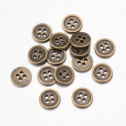 Boutons en alliage, 4-trou, plat rond, de style tibétain, bronze antique, 15x1.5mm, Trou: 1mm(X-BUTT-D054-15mm-02)