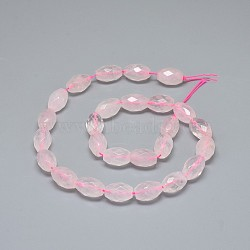 Natural Rose Quartz Beads Strands, Faceted, Oval, 14.5~15x10~10.5mm, Hole: 1mm; about 26pcs/strand, 15.9''(40.5cm)