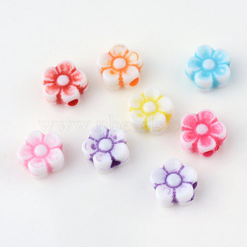 Craft Style Acrylic Corrugated Beads, Flower, Mixed Color, 8x8.5x3.9mm, Hole: 2mm(X-SACR-S840-M)