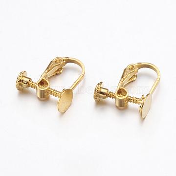 Brass Clip-on Earring Findings, Golden, 15.5x6x13.5mm, Tray: 6mm(KK-K225-14-G)