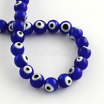 Round Handmade Evil Eye Lampwork Beads, Blue, 6mm, Hole: 1mm; about 64pcs/strand, 14.1 inches(LAMP-R114-6mm-02)