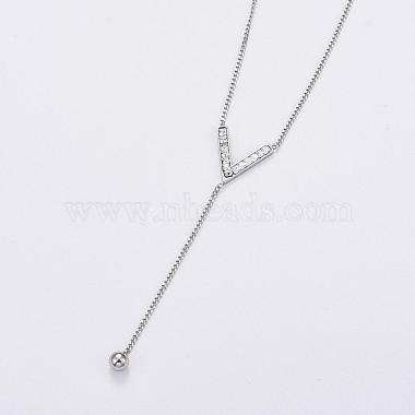 304 Stainless Steel Curb Chains Chevron Lariat Necklaces(NJEW-F267-23P)-2