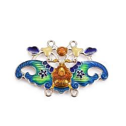 Composants de liens de lustre en alliage, avec l'émail, papillon, or clair, turquoise moyen, 41.5x26x3.1mm, Trou: 1.8mm(ENAM-ZH9576-3)