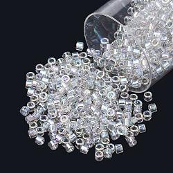 Miyuki® delica beads, perles de rocaille japonais, 11 / 0, (db 1251) brume grise transparente ab, 1x1.5 mm, trou: 0.5 mm; sur 2000 pcs / bouteille(SEED-S015-DB-1251)