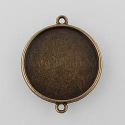 Réglages de connecteur cabochon en alliage de style tibétain bronze antique, plateau double face, plat rond, sans nickel, plateau: 25 mm; 34.5x28x3 mm, Trou: 2mm(X-TIBE-M022-01AB-NF)