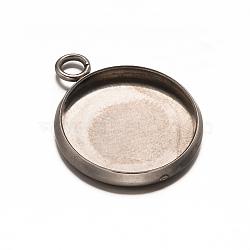 rondes plat 304 paramètres pendentif cabochon acier inoxydable, cuvettes à bord droit, couleur inox, plateau: 12 mm; 18x14x2 mm, trou: 2.5 mm(X-STAS-E079-05)