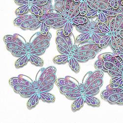 201 acier inoxydable connecteurs en filigrane liens, embellissements en métal gravé, papillon, multicolore, 26x34.5x0.3mm, Trou: 0.9mm(STAS-S108-53)