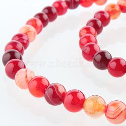 """Chapelets de perles rondes en pierre d'agate naturelle, teint, DarkRed, 6mm, trou: 1mm; environ 63 pcs/chapelet, 15.35""""(G-E232-09)"""