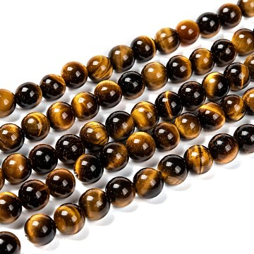 Natural Tiger Eye Beads Strands, Grade A, Round, 8mm, Hole: 1mm, about 48pcs/strand, 15 inches(X-G-J303-11-8mm)