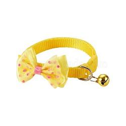 col réglable mega pet®, noeud papillon en nylon couleur bonbon pour animal de compagnie, avec la cloche, jaune, 19~32 cm(MP-MP0001-04C)