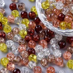 Perles de verre craquelé peintes, caramel mix, rond, couleur mixte, 6~6.5x5.5~6mm, trou: 1 mm; environ 200 PCs / sachet (DGLA-X0006-6mm-12)