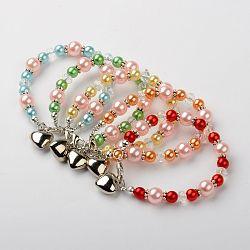 Acrylique imité bracelets de perles pour les enfants, perles de verre, pendentifs en plastique ccb et fermoirs en pinces de homard en alliage, cœur, couleur mixte, 155mm(BJEW-JB01198)