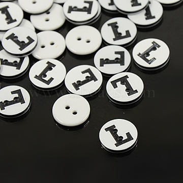 Plastic Buttons, 2-Hole, Flat Round with Letters, White, Letter.L, 12.5x2mm, Hole: 1.5mm(X-BUTT-A010-20L-L)