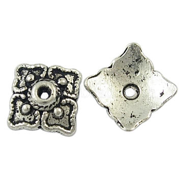 Tibetan Style Bead Caps, Cadmium Free & Lead Free, Square, Antique Silver, about 8.5mm long, 8.5mm wide, 2mm thick, hole; 1mm(X-LF10092Y)