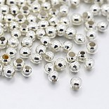 Silver Round Iron Spacer Beads(X-IFIN-E005-S)