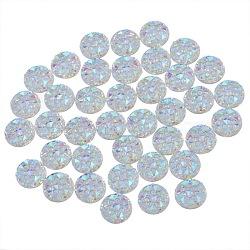 Cabochons en résine, avec ab couleur strass, plat rond, clair ab, 9.5x2.5mm(X-RESI-N012-009C)
