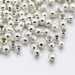 Spacer бисер железа, металлические находки для поставок ювелирных изделий, серебристый цвет, 2.5x2 mm, отверстия: 1.5 mm, о 590 шт / 10 г(X-IFIN-E005-S)